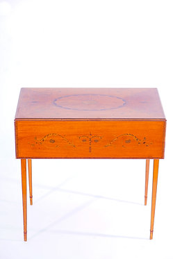 1900's English Inlaid Satinwood  Pembroke Table