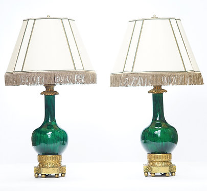 19th c. French Doré Bronze Mounted Chinese Urn Lamps