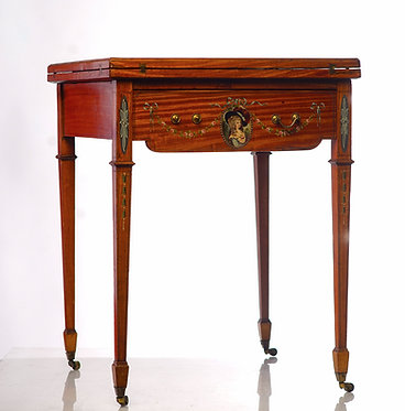 19th c. English Painted Satinwood Handkerchief Table