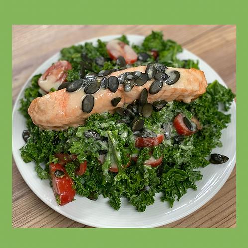 Sesame Salmon Kale Salad with Pepitas