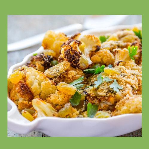 Roasted Cauliflower Salad with Sultanas & Almonds