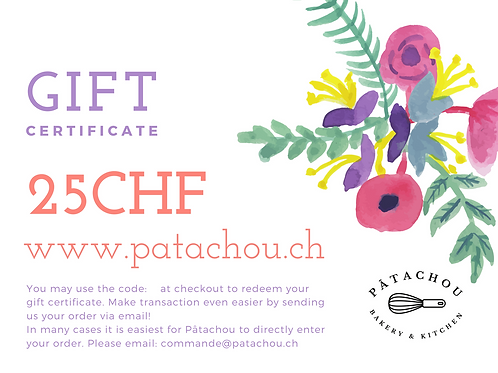 25chf Gift Certificate / Bon Cadeau
