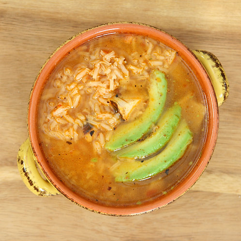 Mexican Chicken, Rice & Avocado Soup