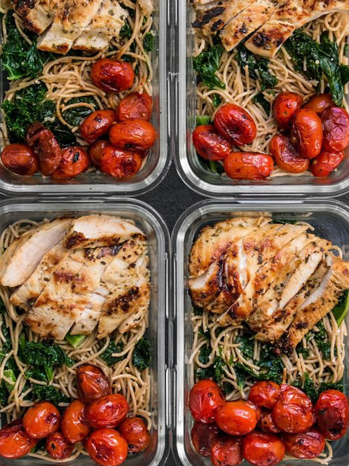 WEEKLY SPECIAL Meal Prep - Poulet avec Spaghetti Complet + Tomates Rôties