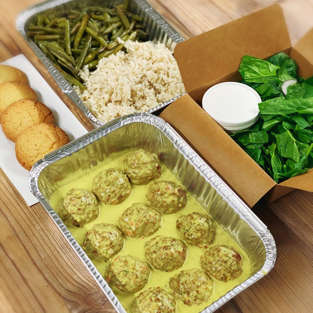 Coconut Curry Meatballs Meal Box, Pâtachou Bakery & Kitchen, Gland Switzerland