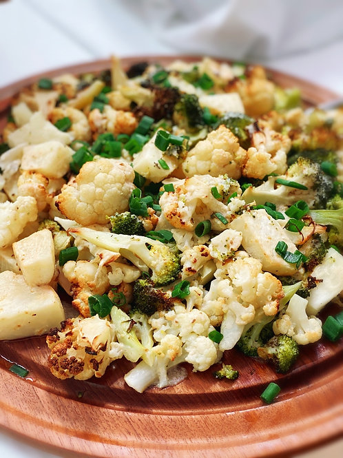 Roasted Vegetable Salad with Tahini-Lemon Sauce