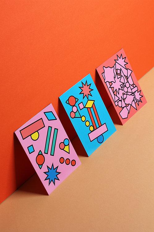 Set Of 3 Postcards - Balance, Chaos, Randomness
