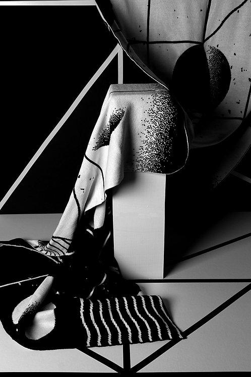 Marta Veludo X Restored — White, Soft And Black Scarf