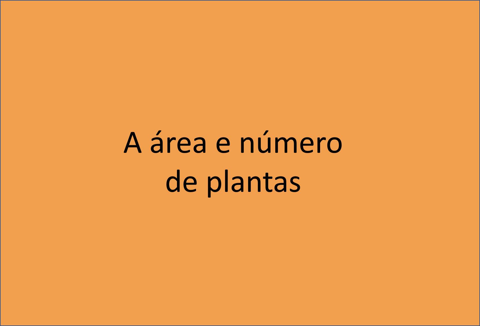 Área e número de plantas