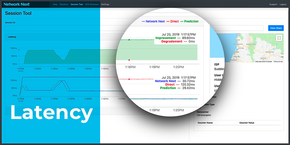 Network Next Analytics Portal - Session Tool: Latency