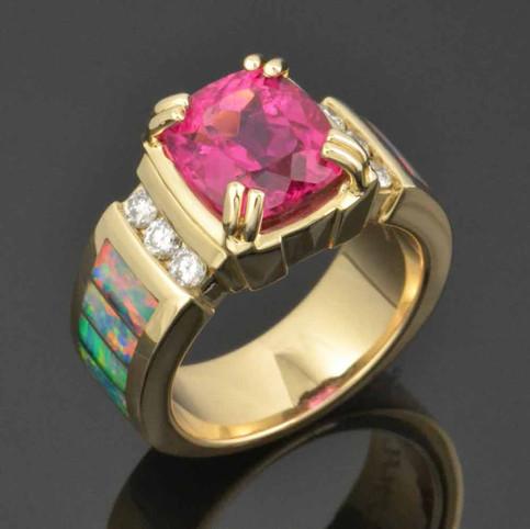Rubellite Tourmaline and Opal Custom Ring Design