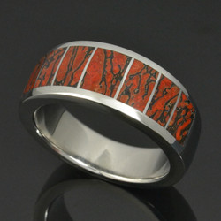 Dinosaur bone ring in stainless steel by Hileman Silver Jewelry