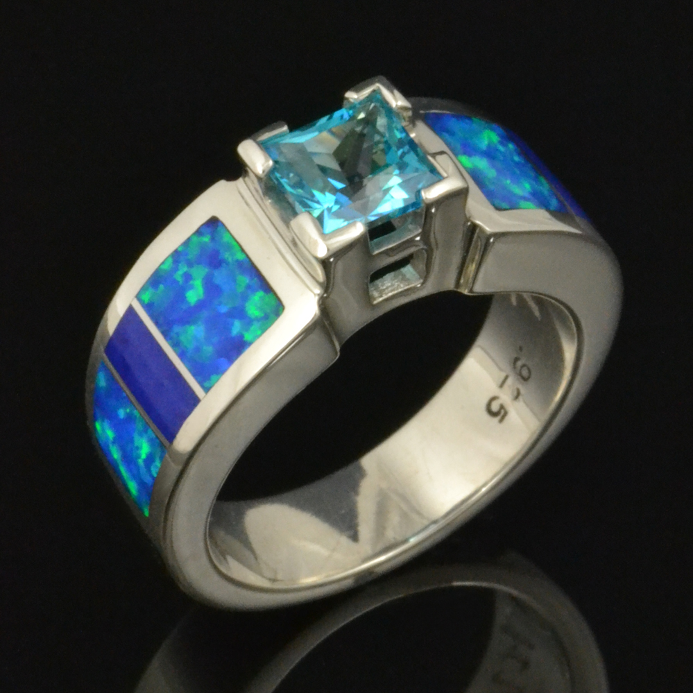 Lapis, topaz and lab opal ring in sterli