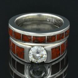 Dinosaur bone wedding ring with moissanite engagement ring.