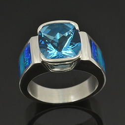Lab opal ring with turquoise and blue topaz