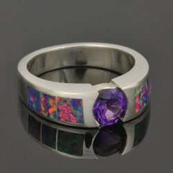 Lab Opal Ring with Amethyst
