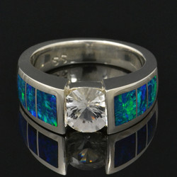White sapphire and lab opal ring