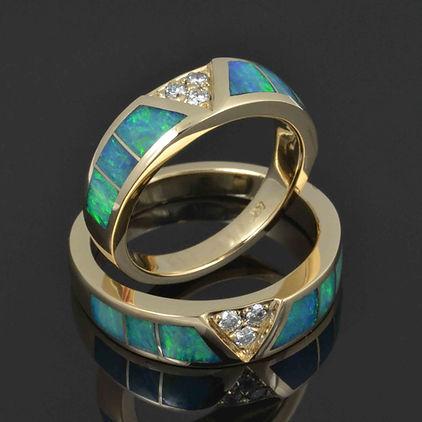 Australian opal and diamond wedding ring
