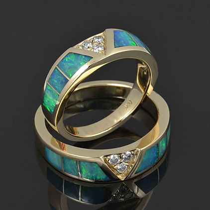 Australian opal and diamond wedding ring