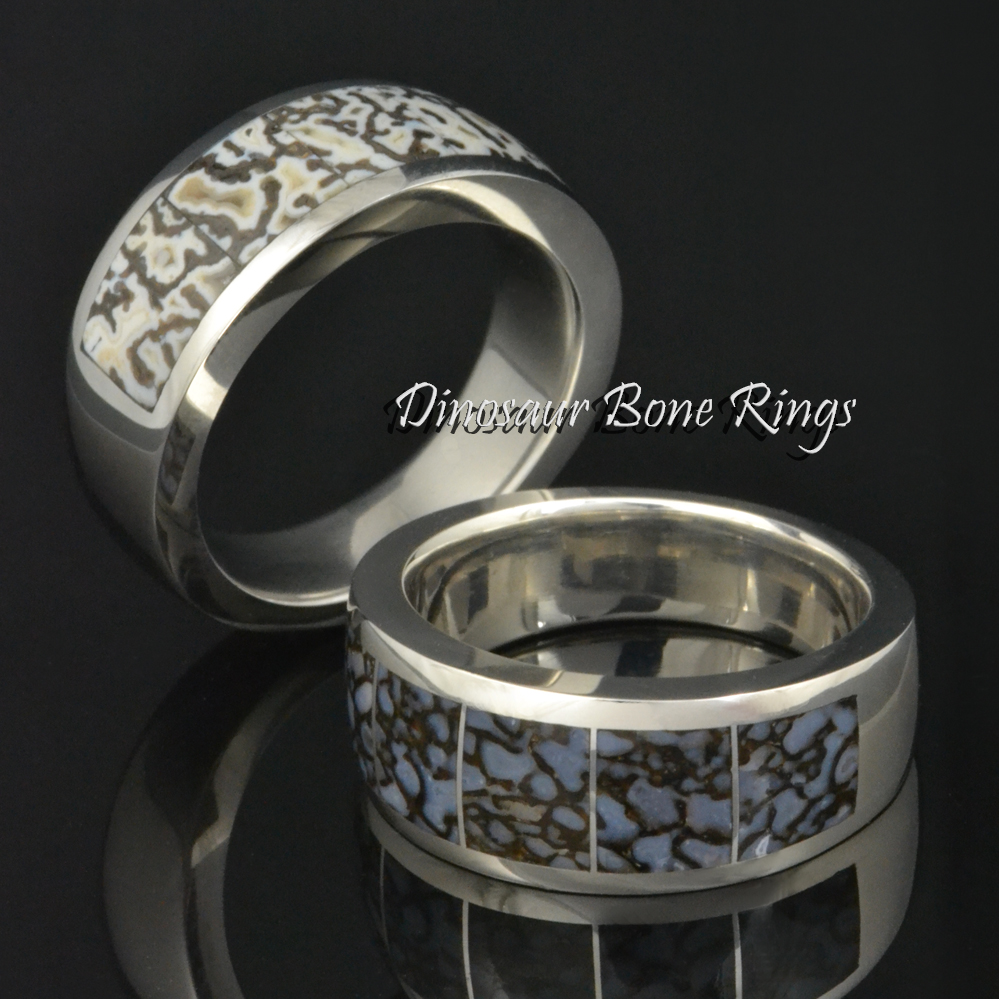 Men's dinosaur bone rings in sterling silver and stainless steel.