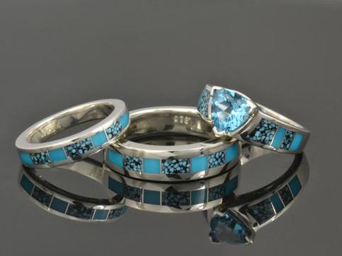 Turquoise engagement ring and wedding ri