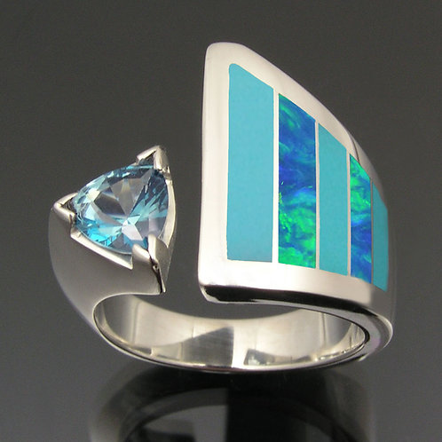 Turquoise ring with lab opal and topaz in sterling silver.