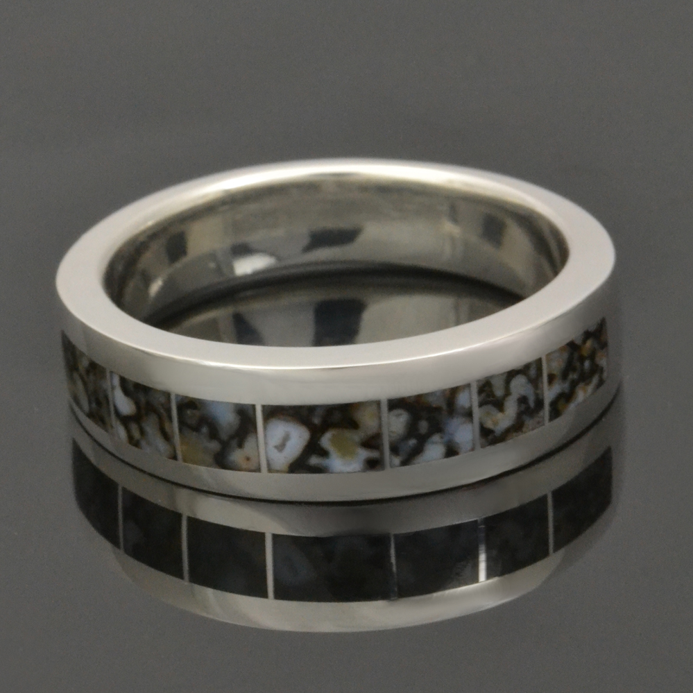 Gray dinosaur bone ring