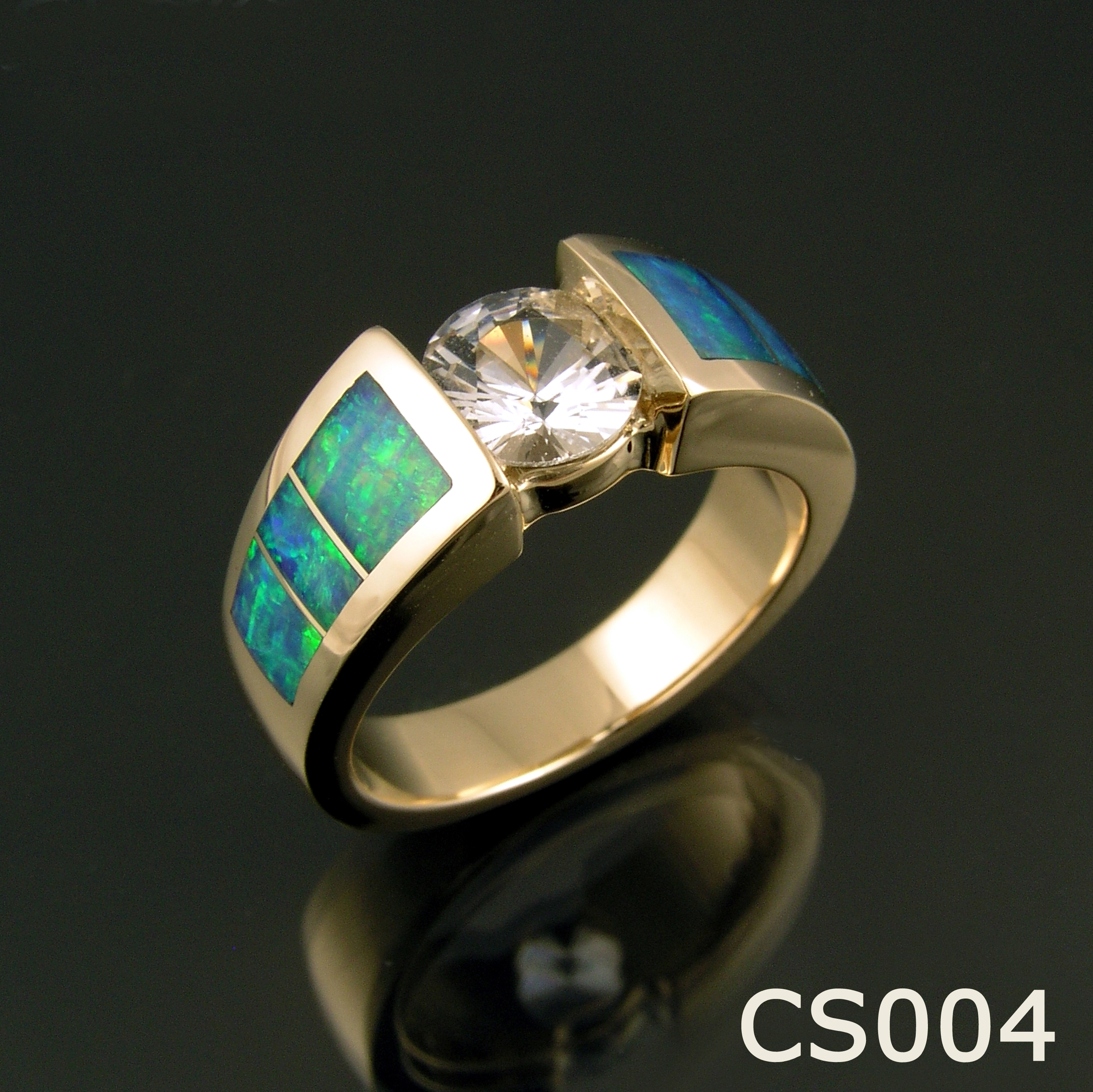 Opal inlay ring with white sapphire in 14k gold by Hileman