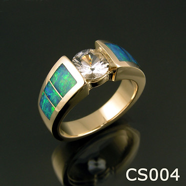 White sapphire and Australian opal engagement or wedding ring