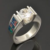 Lab opal ring with white topaz in sterling silver