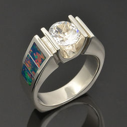Lab opal engagement ring with white topaz