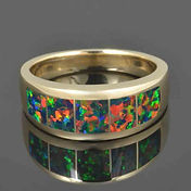 Multi-color black lab opal inlay ring in