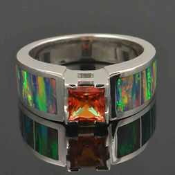 Lab created opal ring with orange topaz