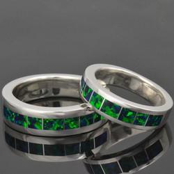Green Lab Opal Wedding Band Set