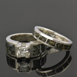 Gray dinosaur bone engagement ring and wedding ring set with white sapphire set in sterling silver