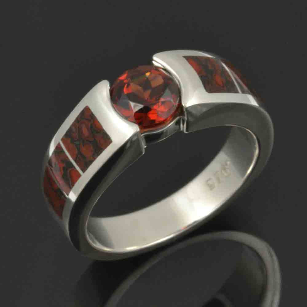 Garnet and dinosaur bone ring in sterling silver by Hileman.