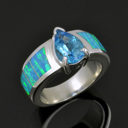Topaz and lab opal engagement ring