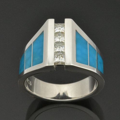 Moissanite and Birdseye Turquoise Ring in Sterling Silver