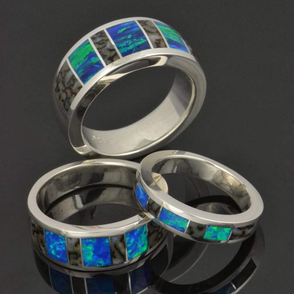 Men's dinosaur bone and lab created opal rings-reduced