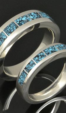 Spiderweb Turquoise Wedding Ring Set