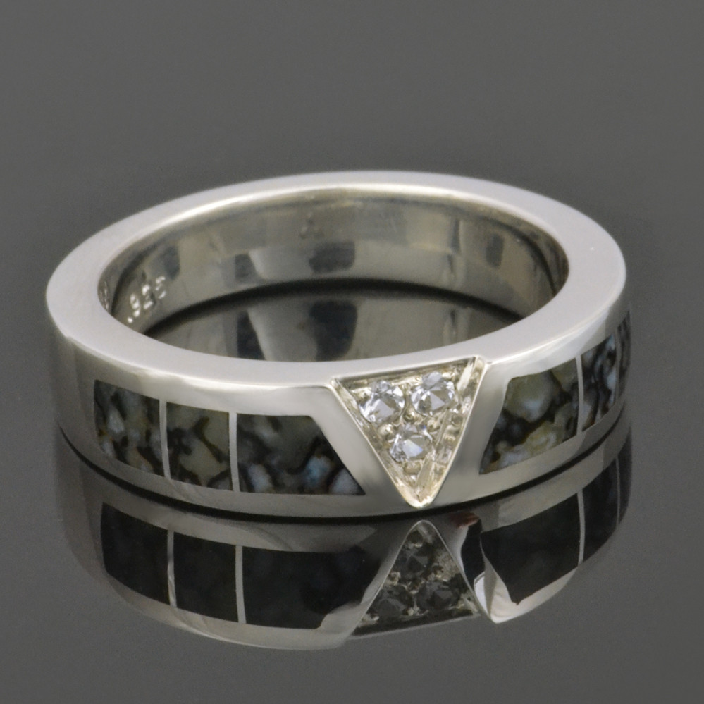 Dinosaur Bone Ring with White Sapphires in Sterling Silver