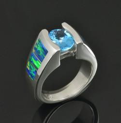 Lab Opal Blue Topaz Ring
