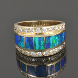 Lab Opal Ring with Diamonds in Gold