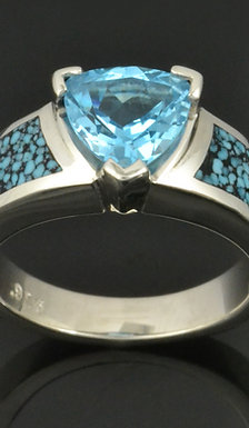 Trillion Topaz and Turquoise Engagement Ring