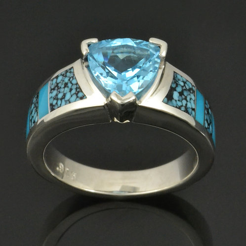 Topaz and turquoise engagement ring in sterling silver by Hileman.