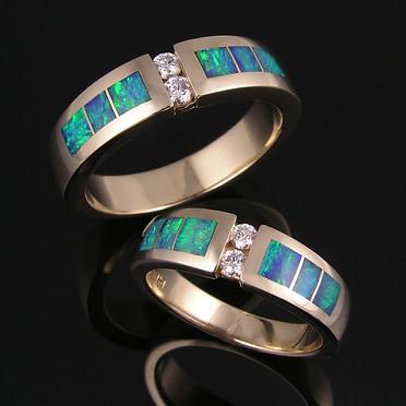 Australian opal wedding ring set with diamonds