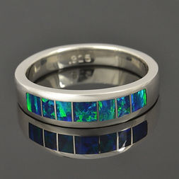 Lab opal wedding band in sterling silver