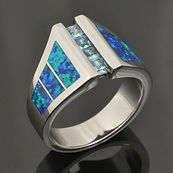Men's lab opal ring with princess cut blue topaz in sterling silver