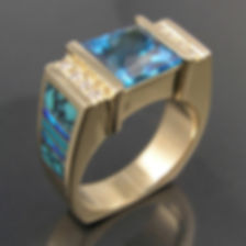 Topaz, diamond and turquoise ring in 14k