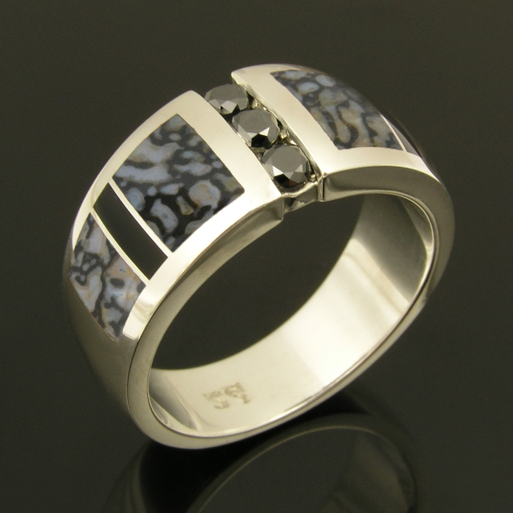 Gray dinosaur bone wedding ring